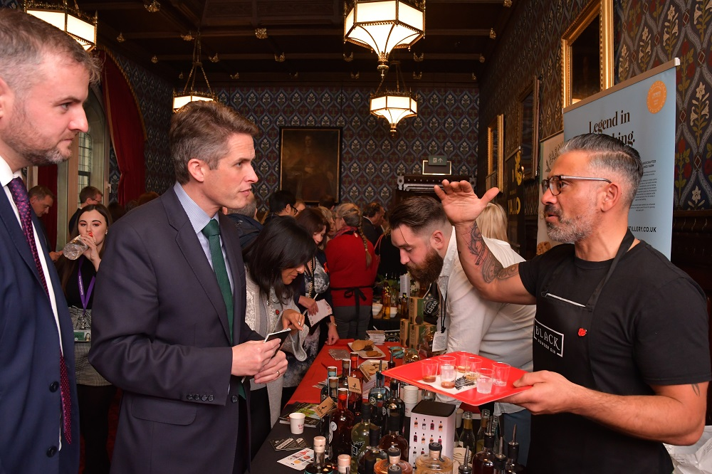 The Rt Hon Gavin Williamson CBE MP and Secretary of State for Defence and Harry Camillair (Black Powder Gin)