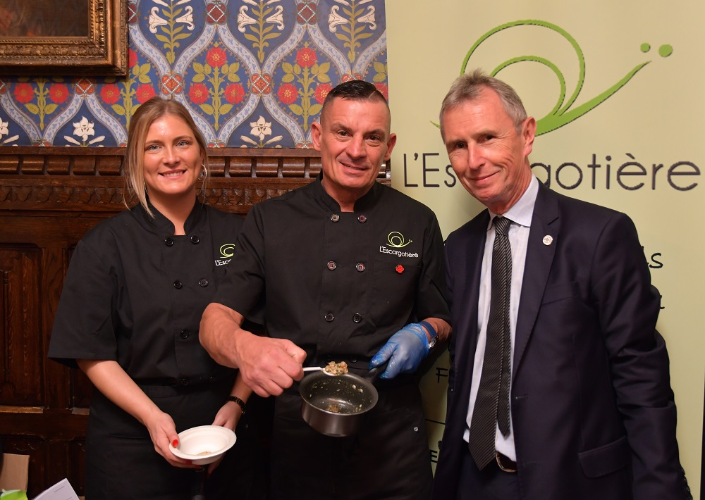 Leanne Aspinall, John Rowe (L'Escargotière) and Nigel Evans MP