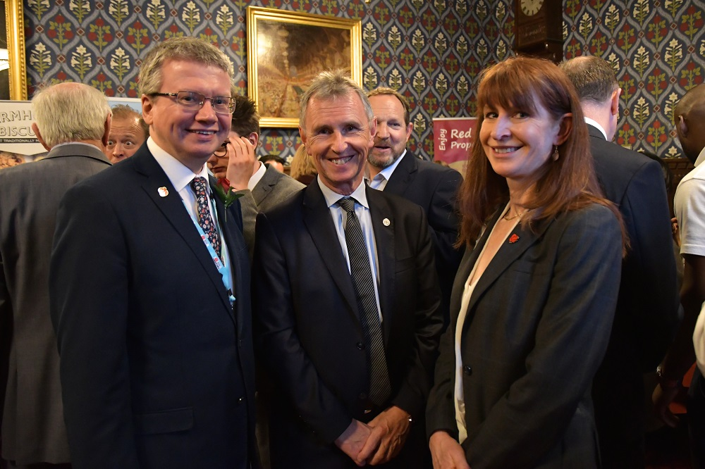 Lancashire County Councillor Michael Green, Nigel Evans MP and Angie Ridgwell (Chief Executive of Lancashire County Council)