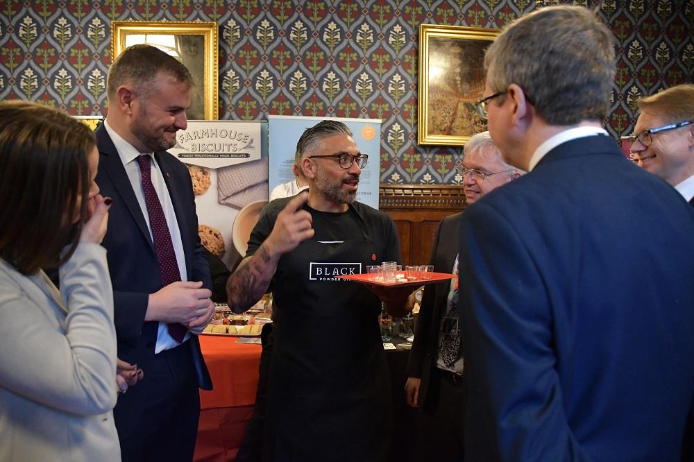 Andrew Stephenson MP, Harry Camillari (Black Powder Gin) and Mark Menzies MP