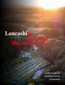front cover of recovery plan, drone image of Gisburn park pop up